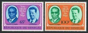 Senegal 407-408,hinged.Mi 562-563. Visit of King Baudouin,1975.President Senghor