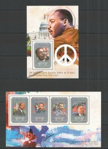ST670 2014 GUINEA FAMOUS PEOPLE NOBEL PRIZE MARTIN LUTHER KING  KB+BL MNH STAMPS