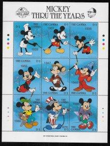 Gambia 814 Disney 60th Mickey Mouse mini-sheet MNH c.v. $10.00 (fr)