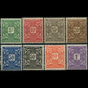 MAURITANIA 1914 - Scott# J9-16 Numeral Set of 8 NH