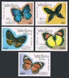 Laos 1143-1147,1148,MNH.Michel 1378-1382,Bl.146. BANGKOK-1993.Butterflies.