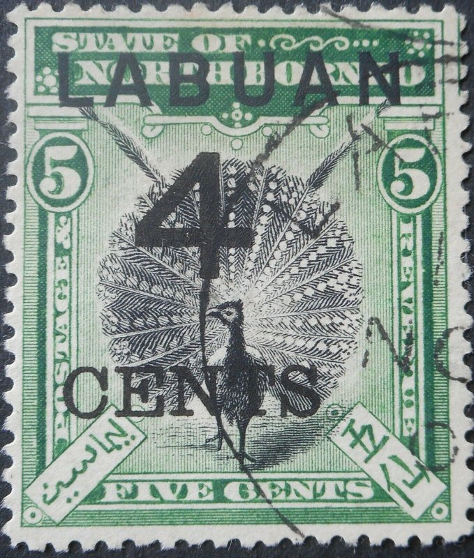 Labuan 1899 Four Cents opt on 5 Cents SG 102 used
