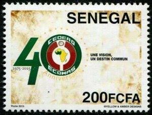 HERRICKSTAMP NEW ISSUES SENEGAL Sc.# 1725 2015 Africa ECOWAS. Rare!