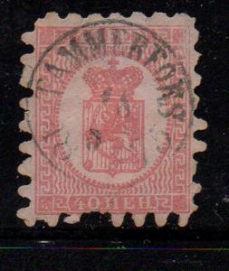 Finland Sc 10 1866 40p rose Coat of Arms stamp used