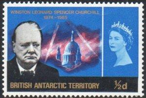 British Antarctic Territory 1966 ½d new blue (Churchill Commemoration) MH