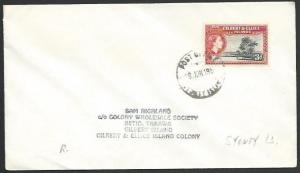 GILBERT & ELLICE IS 1956 cover - scarce POST OFFICE / SYDNEY ISLAND cds....25843