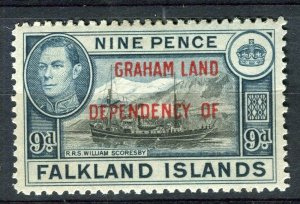 FALKLANDS; 1941 early GRAHAM LAND Optd. on GVI Mint hinged 9d. value