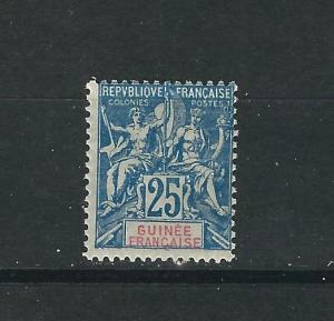 French Guinea 11 Y&T 25 25c Blue on gray MH Avg 1900 SCV $24.00