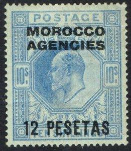 MOROCCO AGENCIES SPANISH CURRENCY 1907 KEVII 12 PESETAS ON 10/-