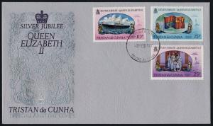 Tristan Da Cunha 213-5 on FDC Queen Elizabeth Silver Jubilee, Royal Yacht, Flag