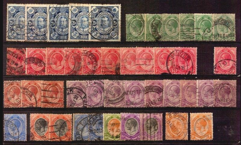 SOUTH AFRICA EARLY USED STAMPS LOT COLLECTION POSTMARKS KEY