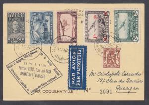Belgium Sc 272, C3, C6  Belgian Congo 115,142, C10 on 1938 International Glider