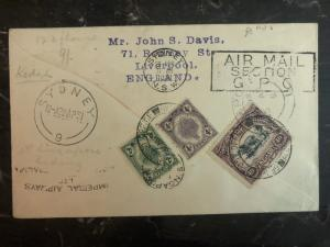 1931 Kedah Penang Malaya First Flight Cover To England Imperial Airways FFC