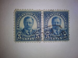 SCOTT # 557 FIVE CENT ROOSEVELT USED TWIN FREE DOMESTIC SHIPPING