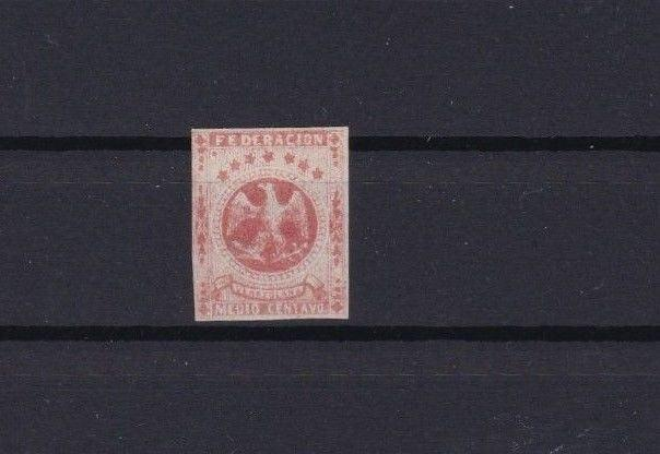 VENEZUELA 1863 IMPERF STAMP MOUNTED MINT ½ REAL RED CAT £55   REF 6262