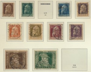 Bavaria (German State) Scott #77//93, 1911 Issues, 17 Stamps, Used/Mint Hinge...