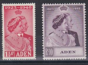 ADEN  1948 - 48  SILVER WEDDING SET  M/H