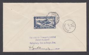 Canada Sc CL11, 107 on 1926 FAIRCHILD AIR FIRST FLIGH cover, HAILEYBURY to ROUYN