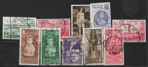 COLLECTION LOT OF 10 ITALY STAMPS 1936+ CV+$42