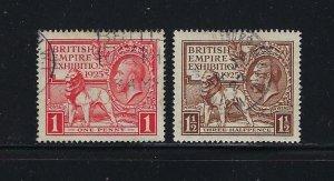 GREAT BRITAIN SCOTT #203-04 1925 BRITISH EMPIRE EXHIBITION- USED