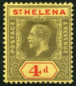 ST HELENA-1912 4d Black & Red/Yellow Sg 83 MOUNTED MINT V33837