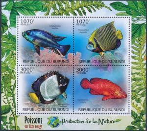 Burundi MNH S/S Fish Marine Life 2012 4 Stamps