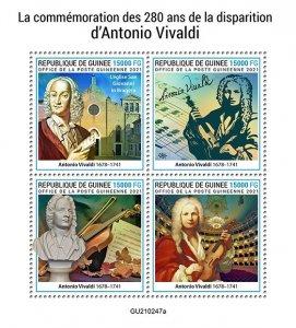 GUINEA - 2021 - Antonio Vivaldi - Perf 4v Sheet -Mint Never Hinged