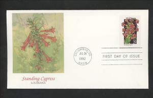 US FDC #2695 Wildflowers 1992 Fleetwood Cachet Louisiana LA Standing Cypress