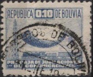 Bolivia RA4 (used) 10c communication symbols, blue (1945)