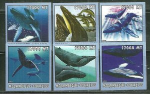 Mozambique MNH 1652A-F Whales Marine Life 2002 SCV 9.50