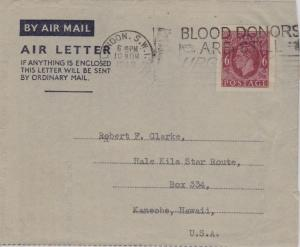 Great Britain 6d KGVI Air Letter 1949 London S.W.I. Blood Donors Are Still Ur...