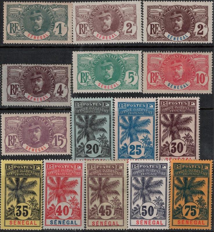 Senegal 1906 SC 57-72 Mint SCV $282.55 Set