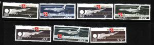 Malta-Sc#C2-8-Unused NH Airmail set-Planes-1974-