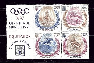 Monaco 839a MNH 1972 Olympics block of 4 with 2 labels