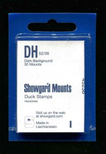 Showgard Black Stamp Mounts DH 52/36 PreCut  (40 count)  Duck Stamp Mounts