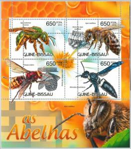 GUINEA BISSAU - ERROR, 2012 MISSPERF SHEET: BEES, FLORA AND FAUNA, INSECTS