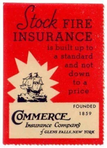 Commerce Insurance Co. Advertising Poster Stamp (Sailing Ship)