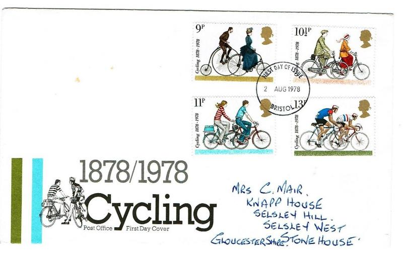 GREAT BRITAIN 1978 - CYCLING FIRST DAY COVER, BRISTOL CANCELLATION