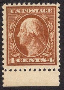 US Stamp #503 Margin Tab 4c Washington MINT NH SCV $19