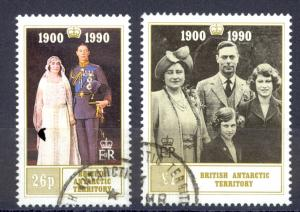 British Antarctic Territory Sc#170-171 SG# 186/7 Used 1990 QN Mother 90 Birthday