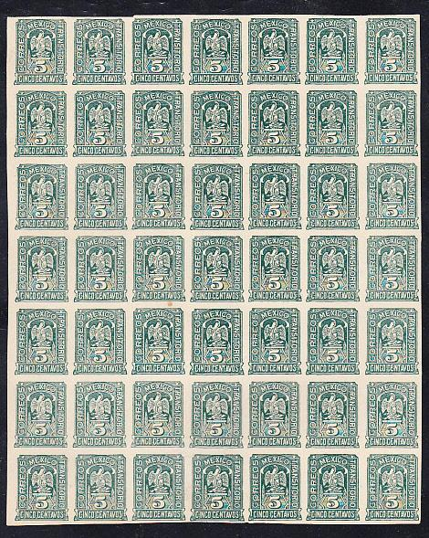 Mexico - #369  Block of 49 Imperforate  Printer's Waste