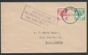 MALAYA KEDAH 1954 cover SUNGEI PATANI  Register For Elections slogan,......10865