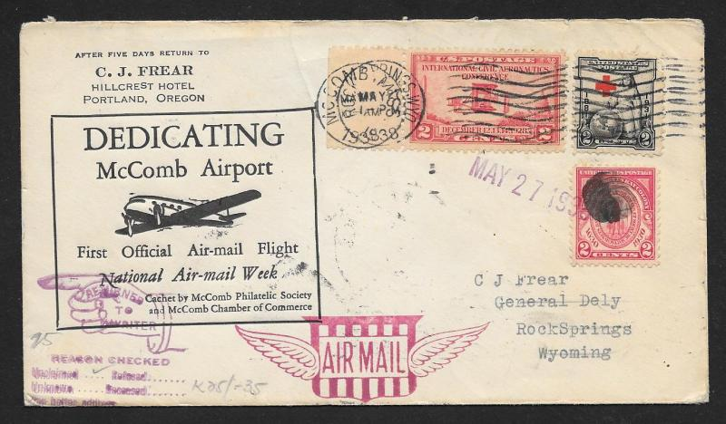 UNITED STATES First Flight Cover 1938 McComb to Rock Springs