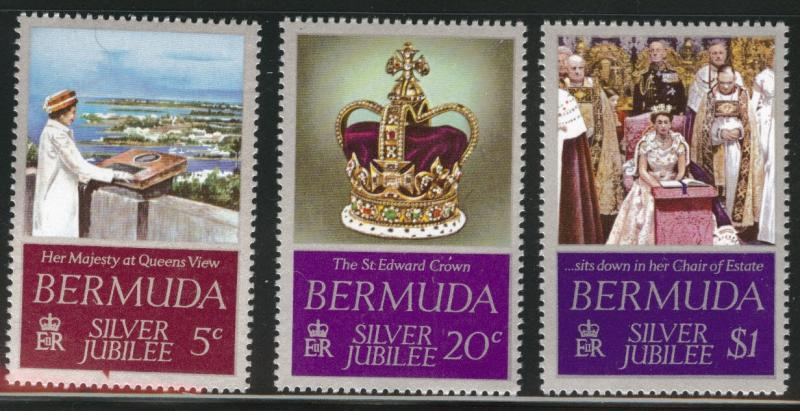 BERMUDA Scott 347-349 MNH** QE2 25th anniversary set 1977