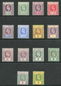 St Lucia SG64/77 KEVII Set of 14 Fresh M/Mint (a few with hinge remainders)