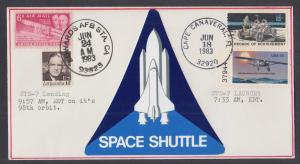 STS-7 Challenger Shuttle Orbiter Combination Launch & Landing, shuttle cachet