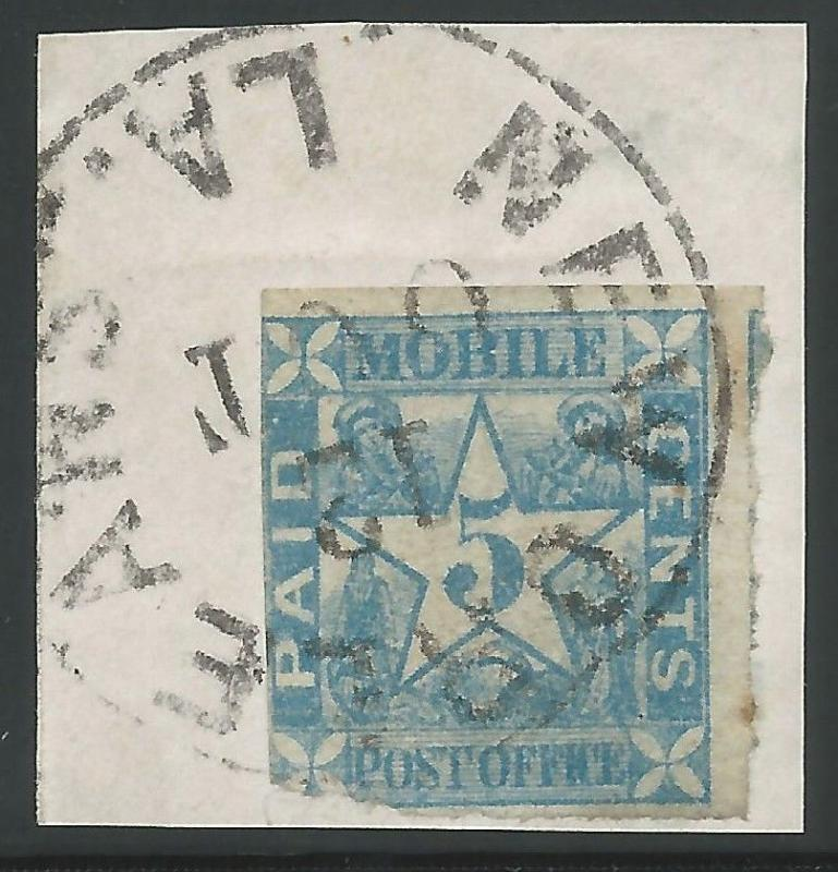 CSA Scott #58x2 5c Blue Provisional Mobile Used New Orleans, LA Oct 12 (1861)
