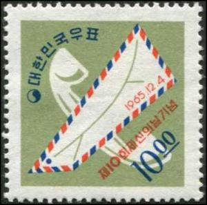 Korea SC# 488 Airmail Envelope & Telephone 10w MH