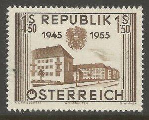 AUSTRIA 602 HINGED, 10TH ANNIV. OF AUSTRIA'S LIBERATION