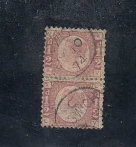 GB # 58 PLATE 4 PAIR 1/2d BANTHAMS IPSWICH CANCEL CAT VALUE $75